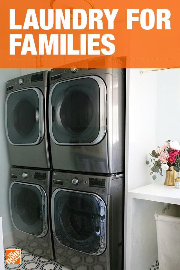 Revamp your laundry room with a double washer and dryer combo. A larger system like these LG washer and dryer units that are great for families. Use stackable units if you're working in a smaller space to save room, especially with two units. We partnered with blogger Savannah Kokaliares to create this family-friendly space. Click to explore her laundry room appliances.