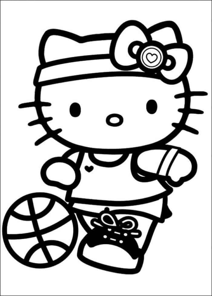 Basketball Coloring Page In 2020 Hello Kitty Colouring Pages