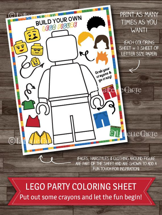 Lego Party Games, Lego Birthday Party Activity, Boys Party, Lego Coloring Sheet, Party Supplies - Digital files: INSTANT DOWNLOAD