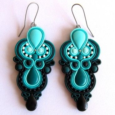 Oriental earrings Mint - the clever use of PC instead of soutache