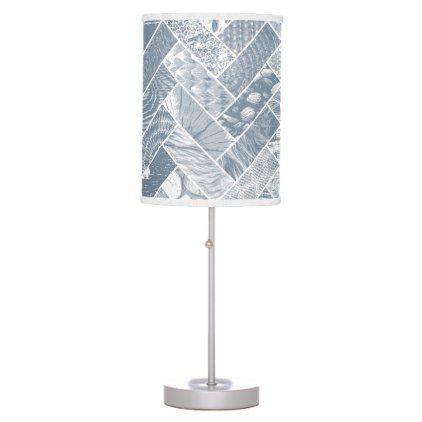 Hygge Style Textured Herringbone Pattern  Grey Desk Lamp - monogram gifts unique design style monogrammed diy cyo customize