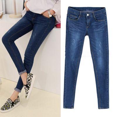 Падение жира MM200 фунтов стрейч джинсы корейской версии был тонкий XL фал изношен Тонкий брюки ноги штаны