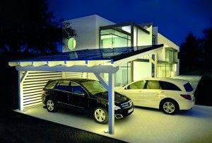 Aurinkopanelit autokatoksen yhteydessä  Solar carport