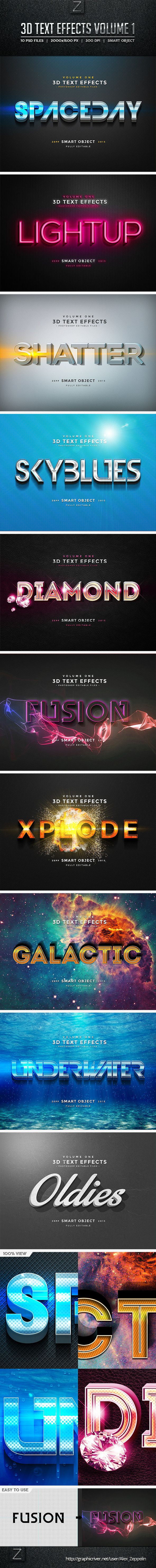 3D Text Effects Vol.1 #photoshop Download here: http://graphicriver.net/item/3d-text-effects-vol1/10156254?ref=ksioks