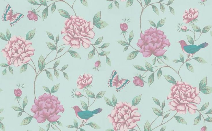 Isabelle (17869) - Monsoon Wallpapers - Inspired by a French 18thc design, a quirky floral trail with cute birds and butterflies among pretty flowers. Available in 6 colours – shown in rose pink and green on duck egg green. Please ask for sample for true colour match.