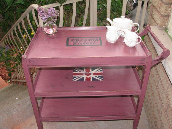antique high tea trolley in custom chalk by VictorianRehabDesign, $175.00  tea party