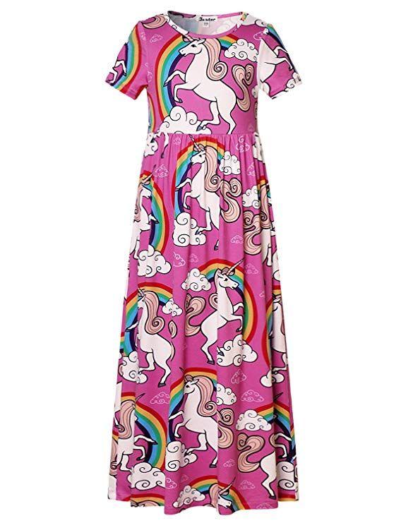 c9b8956355fc Jxstar Maxi Dress Little Girls Unicorn Print Short Sleeve Casual ...