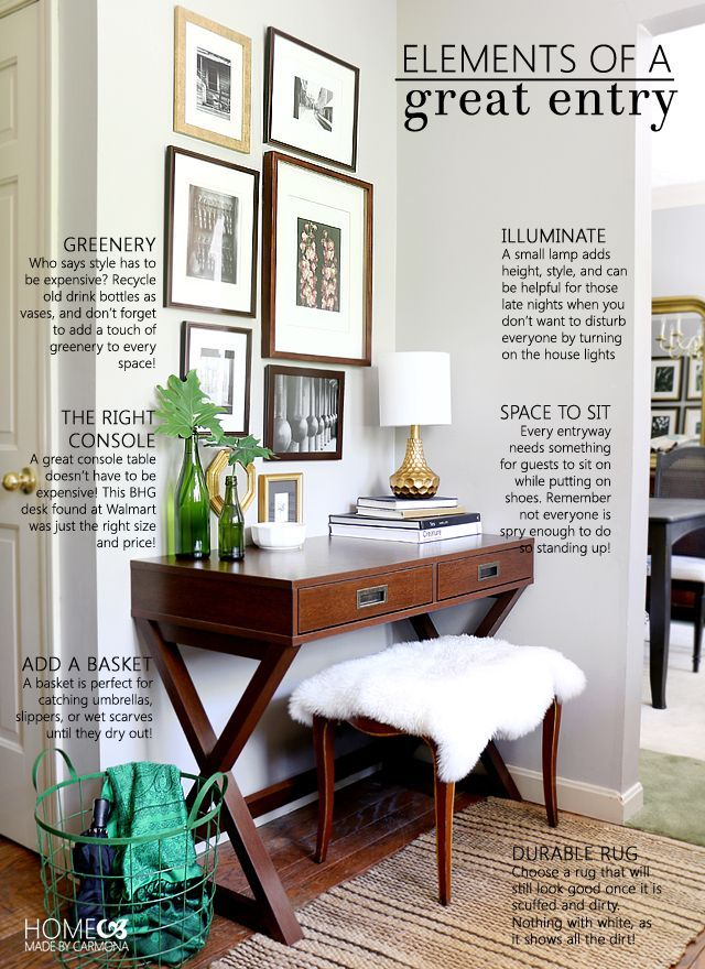 Elements of a Great Entryway: everything you need to know to make a stylish, inexpensive, and practical entry!  Home Made by Carmona | Better Homes and Gardens Live Better | Ad