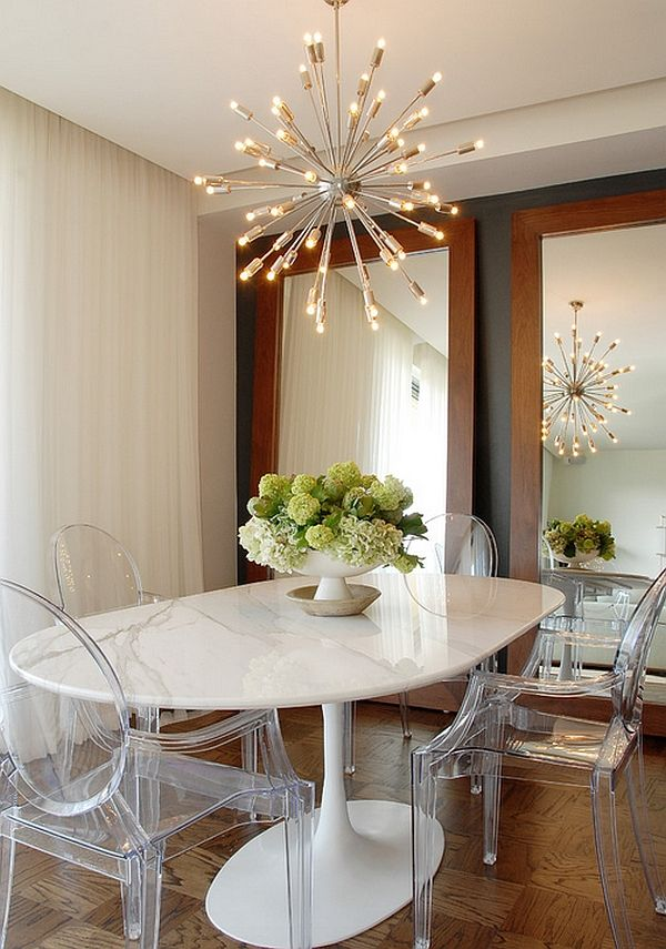 Sputnik chandelier sheds some light on the Saarinen tulip base table and the Ghost Chairs