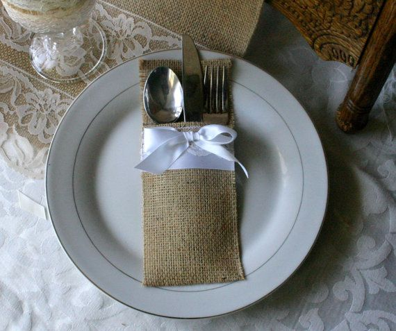 burlap  wedding silverware holder Burlap cutlery by Bannerbanquet