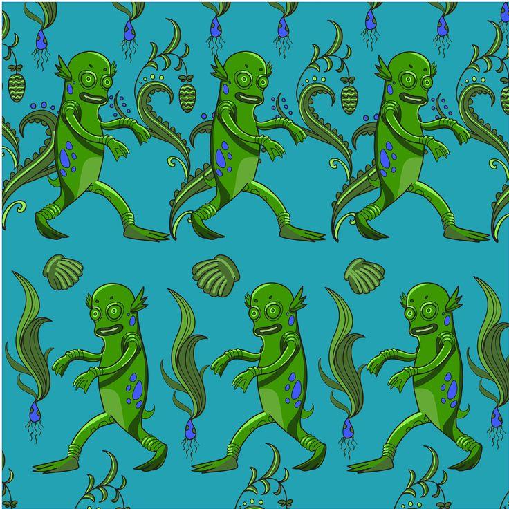 Swamp monster pattern by HIPSTER-MONSTER SHOP on @creativemarket