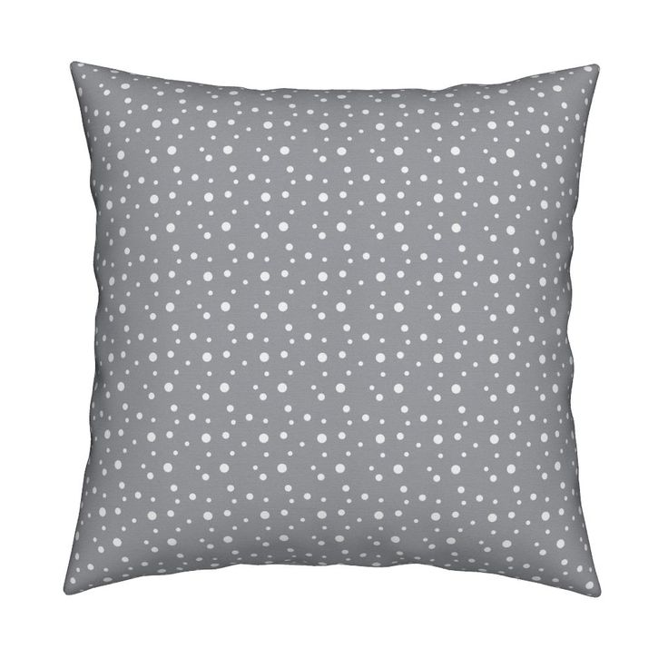 Catalan Throw Pillow featuring Small White Dots and Spots Gray / Neutral Baby Nursery Polka Dots Light Grey / Abstract Scandinavian Stars / Arctic Winter Snowfall by minikuosi | Roostery Home Decor