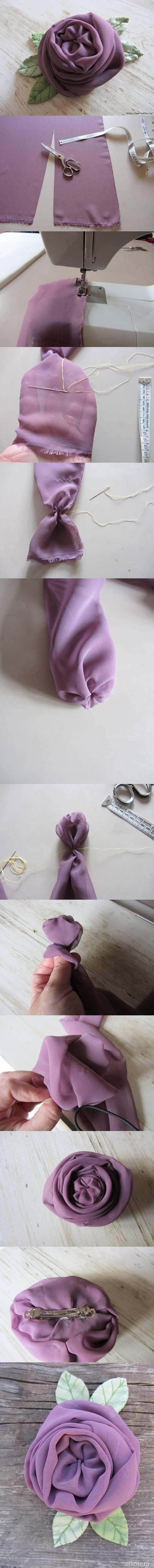 Роза из обрезка ткани