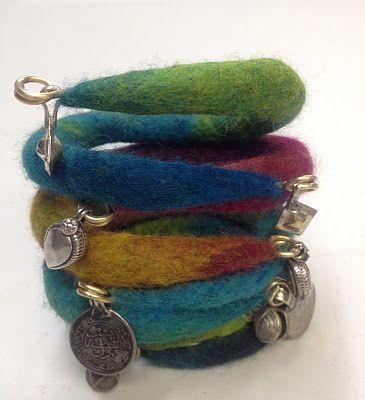 Flexible felted bracelets.  Tutorial in the comments on the blog post.
