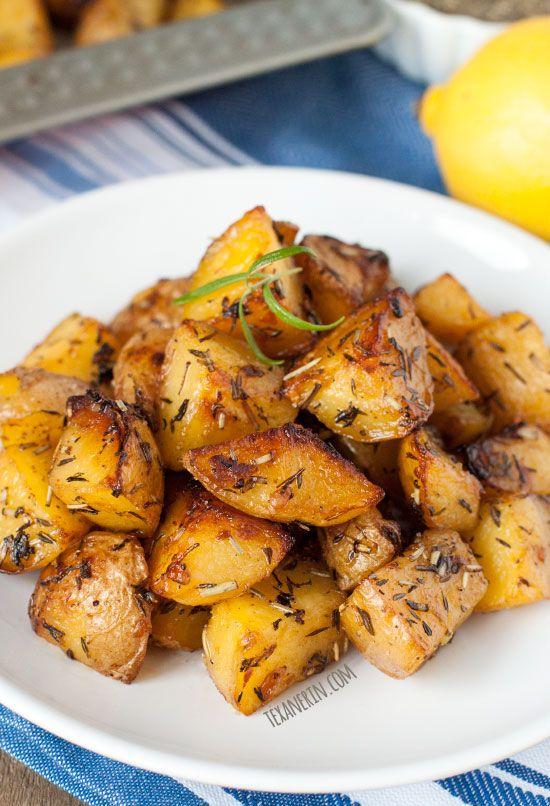 Greek Style Roasted Potatoes – crisp on the outside and with a creamy center! Naturally vegan and gluten-free.