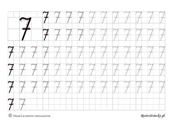 Cyferki dla dzieci - szablon do nauki pisania 7 - matematyka
