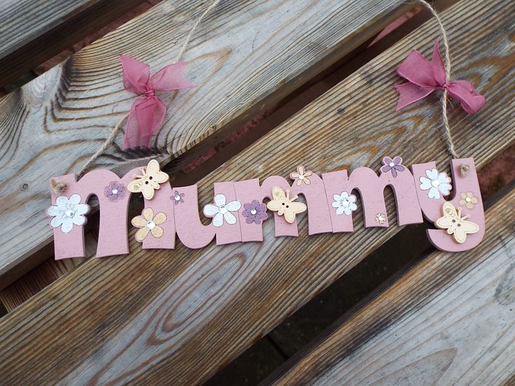 MUMMY - hand-painted wooden wall hanger. Laser-cut. Ideal gift for Mum. by KatijanesCreations on Etsy