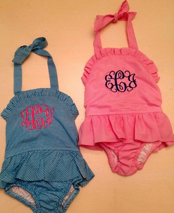 girls' monogrammed gingham swimsuits. Too presh!