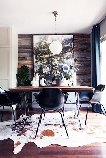 Home Tour: An Interior Designer's Smart and Stylish Small Space // Animal hide rug: Dining Rooms, Masculine Interior, Dining Table, Wood Wall, Accent Wall
