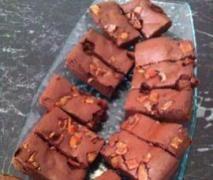 Paleo chocolate coffee bacon brownie