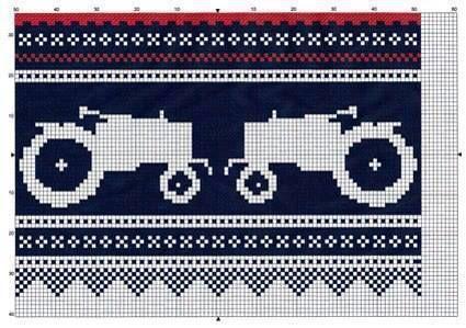 """Mønster på """"traktor-marius""""."""