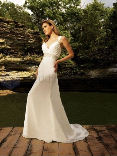 A-line Chiffon Ruched Bodice V-shaped Neckline Sweep Train Wedding Dresses