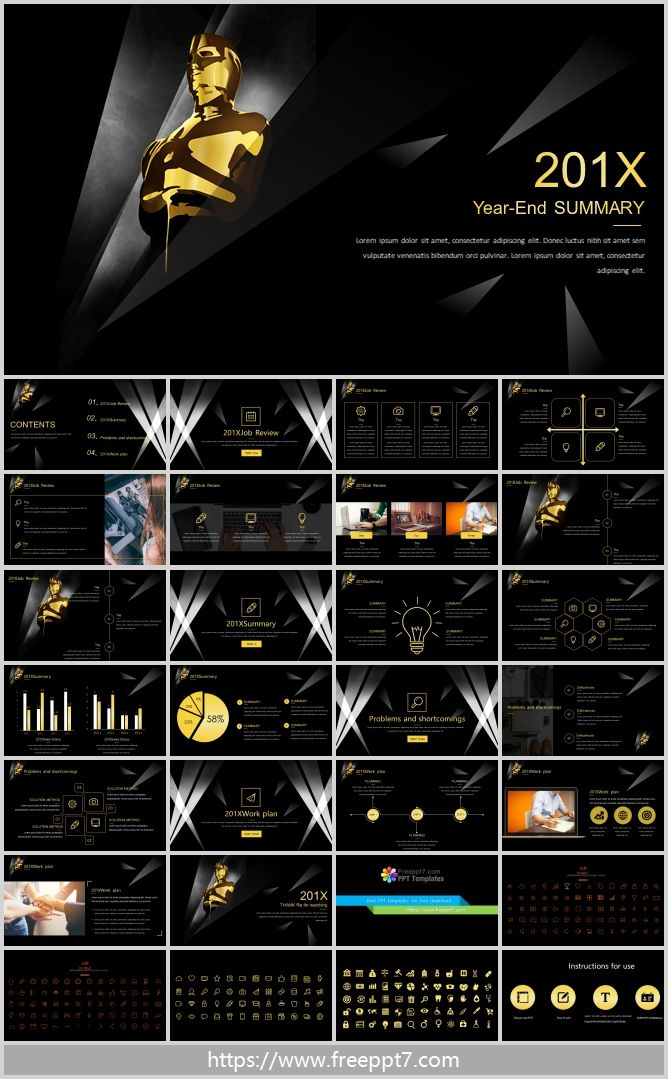 Black Gold Series Year End Summary Ppt Template Best Powerpoint