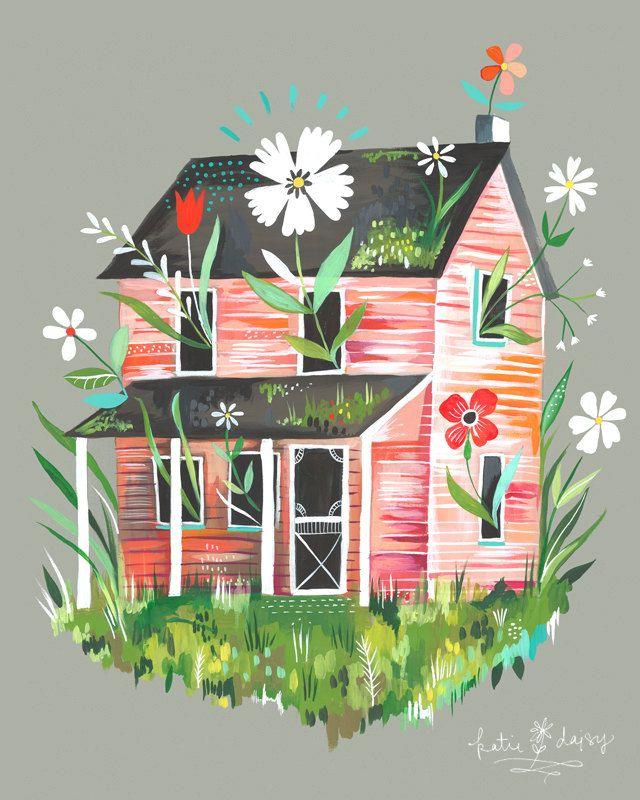 Prairie Home 8x10 print. $18.00, via Etsy.: Graphic Design, Illustrations, Art, Daisies, House, Homes, Color Palette, Katiedaisy, Katie Daisy