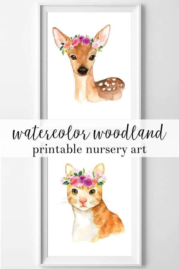 Watercolor Woodland Printable Nursery Art Nursery Art Nursery
