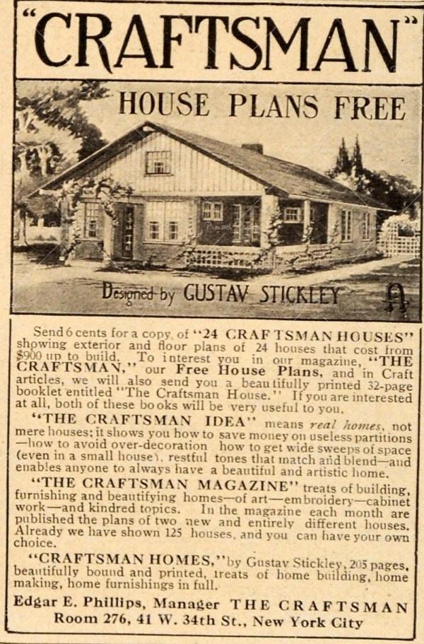 1911 Vintage Ad Craftsman House Plans Gustav Stickley