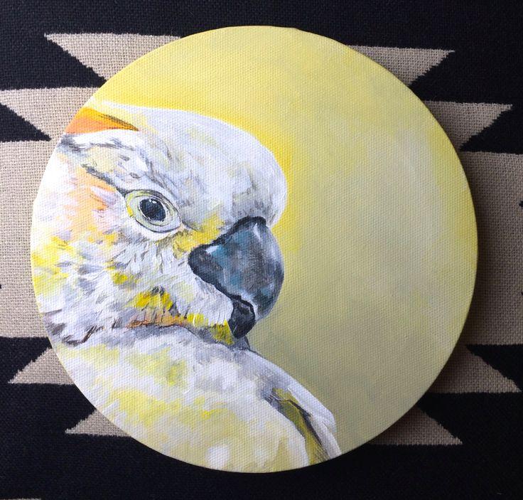 Cockatoo Round Bird Painting original acrylic by diedododa on Etsy, £95.00
