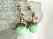 Ohrringe mint bronze Ohrhänger hellgrün vintage