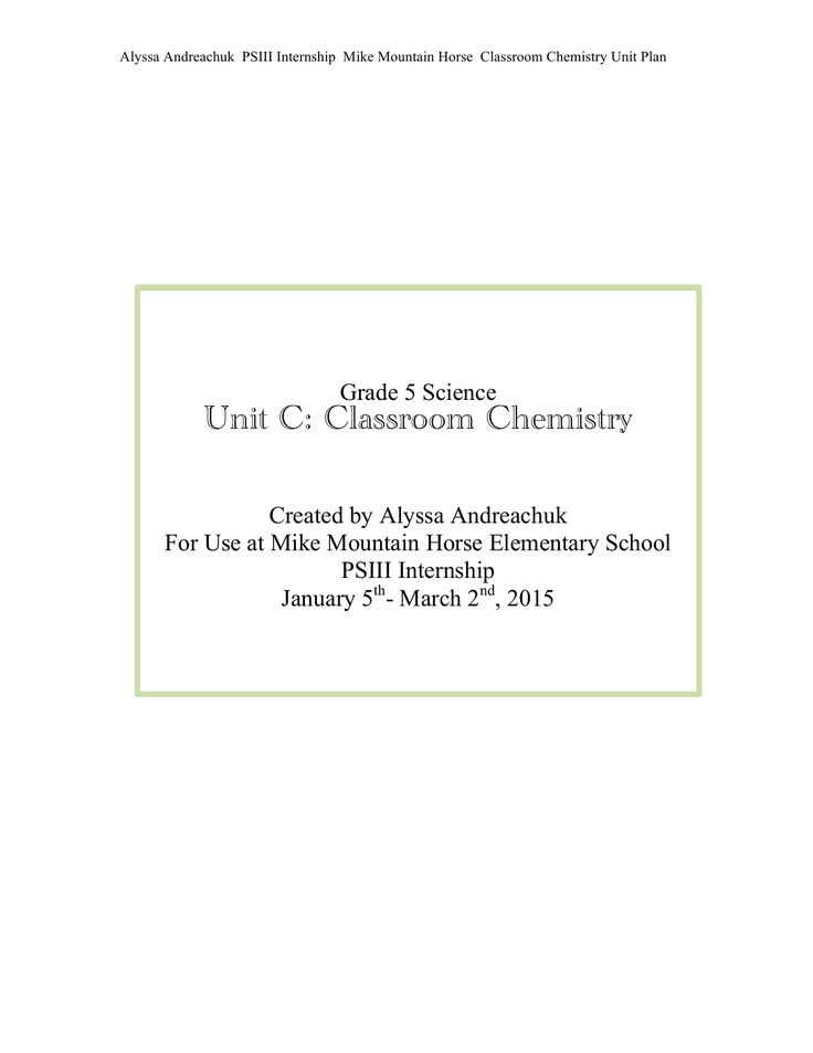 Grade 5 Classroom Chemistry Unit Plan Resource Preview