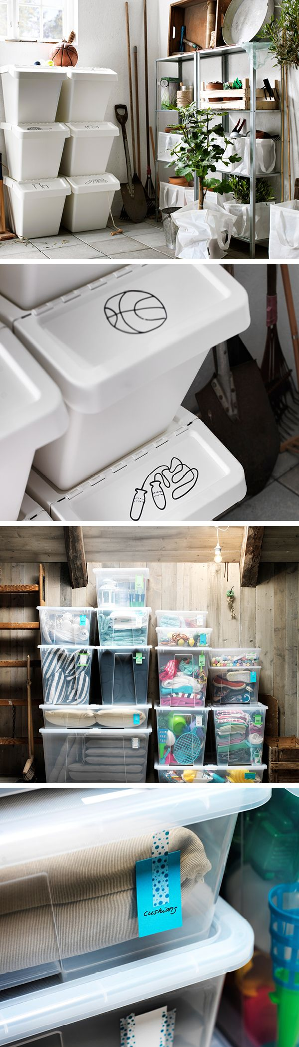Bring in the gardening tools and sports equipment, but keep out the damp and dirt with sealable storage. You can repurpose these waste sorting boxes for a cost- effective garage storage option. Plus, thanks to the folding lid, they're easily stackable, so they're great space savers. Labelling tip: A simple sketch on the lid of these storage boxes is a fun way to display their contents. Sealable boxes leave little opportunity for moths and dust mites. Lids also help keep musty smells away.
