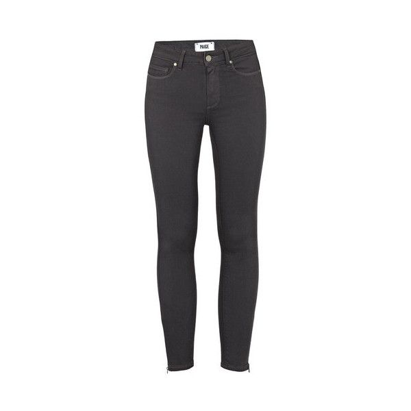 Paige Hoxton Ankle Zip Jeans ($315) ❤ liked on Polyvore featuring jeans, granite, gray jeans, high-waisted skinny jeans, highwaisted skinny jeans, grey denim jeans and high waisted denim jeans