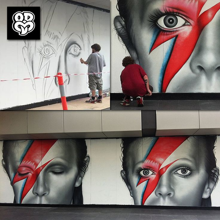 """...painting our faces...""   Following on from NOIR artist having completed a mural commissioned by Sony Music Belgium for David Bowie's ★ album, details of another excellent Bowie mural have surfaced. Australian Bowie fan, John Larkin, tells us that the Aladdin Sane Eyes Open/Eyes Closed mural was spray painted by Owen Dippie of New Zealand, on the hoardings of a building renovation in central Wollongong, New South Wales, Australia. Owen Dippie specialises in large scale street art and…"
