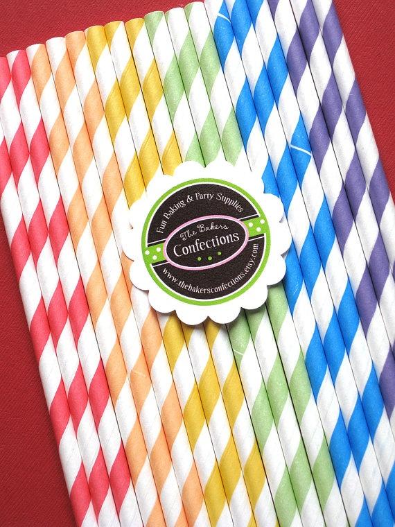 Classic Rainbow Stripe Paper Straws