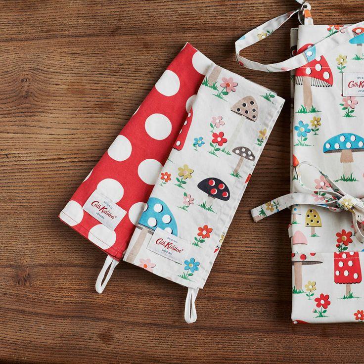 Set Of 2 Mushroom & Big Spot Tea Towels   CathKidston