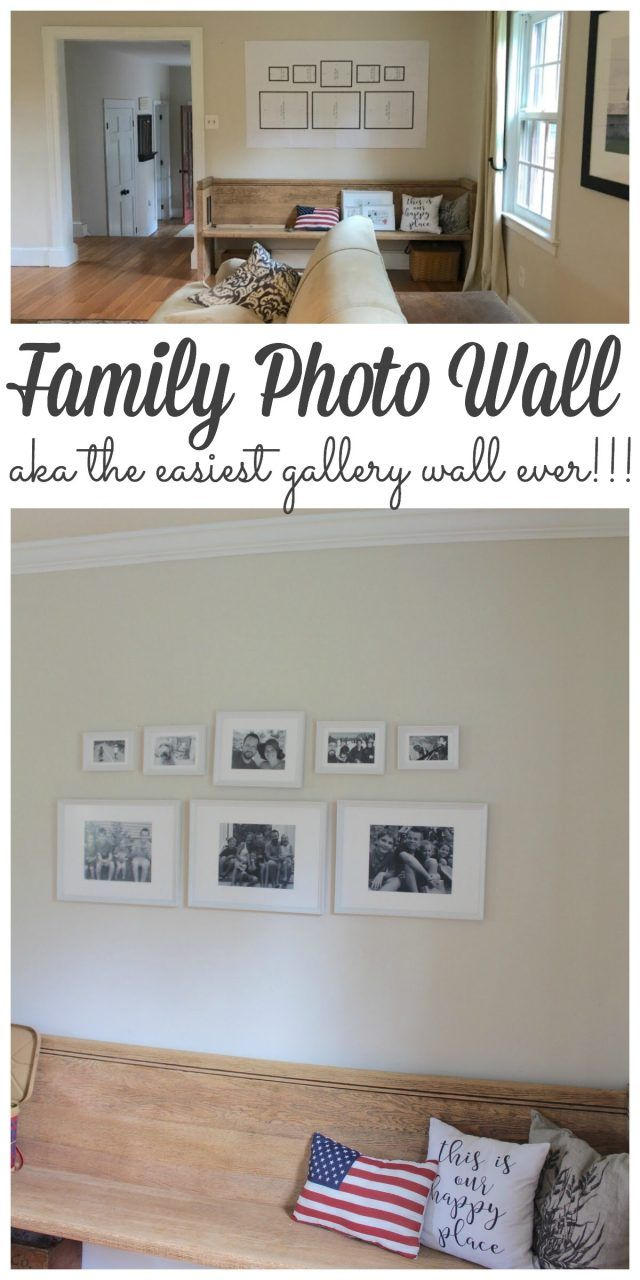 I wanted to add something special above our newest farmhouse pew so I added a family photo wall. Gallery wallsmightseem intimating, expensiveand just plain overwhelming to start but I put this one together by myself in less than an hour for $65 including the photos!!! #gallerywall #photowall #walldecor http://lehmanlane.net