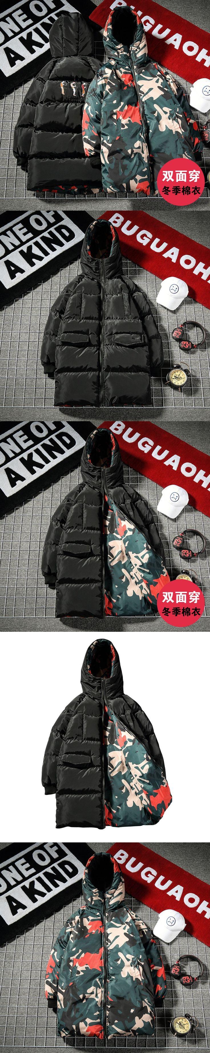 Chaqueta Hombre Invierno 2017 Flower Reversible Mid-long Padded Jacket  Black Green Camo Designer Winter Men Puffer Parka Homme