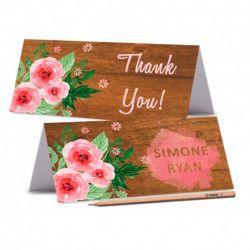 WOOD PLACE CARDS Pink Roses Wedding Place Card Editable Wedding Place card Peony Name Cards Romantic Labels Cards Rustic