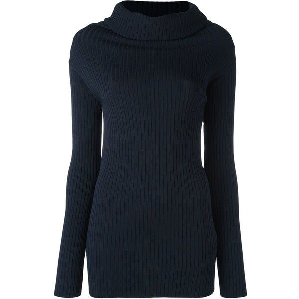 Valentino roll neck jumper (3.255 BRL) ❤ liked on Polyvore featuring tops, sweaters, blue, roll neck sweater, roll neck top, jumper top, blue top and valentino sweaters