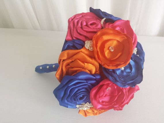 Hey, I found this really awesome Etsy listing at https://www.etsy.com/listing/217076159/hot-pinkorangeblue-satin-fabric-flower
