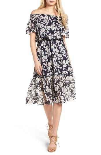 Free shipping and returns on MOON RIVER Floral Print Off the Shoulder Dress at Nordstrom.com. Swiss dots add playful texture to a breezy floral-print frock that bares your shoulders for better vitamin D consumption.