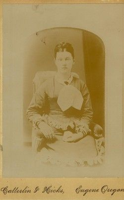 Elizabeth Moss; daughter of William and Rachel (Brattain) Moss. She and her husband, Alexander Goodpasture,  left Morgan Co., IL in 1852 for the Oregon Territory. Their wagon train started from Council Bluff, Iowa with 24 wagons. On 10/6/1852, they arrived in Oregon City; that was spent near Corvallis & Shedd. In spring 1853,they took up a Donation Land Claim 3 miles north of Eugene. In 1862 her husband passed away; she married the recently widowed Rev. Jacob Gillespie in 1867.