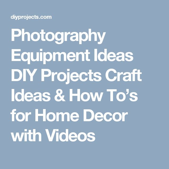 Photography Equipment Ideas DIY Projects Craft Ideas & How To's for Home Decor with Videos