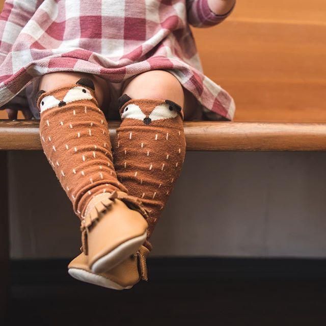 Fox socks, knee high socks, baby socks