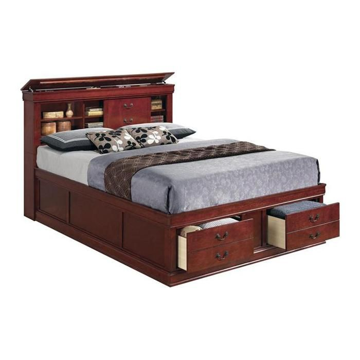 Louis Philippe Queen Storage Bed In Cherry   Nebraska Furniture Mart