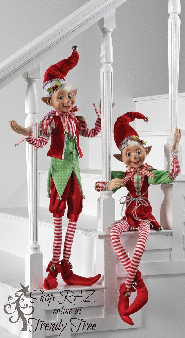 New Elves from the RAZ 2015 Peppermint Toy Collection.....posable! Get them on your Trendy Tree Wist List today! #RAZ #TrendyTree