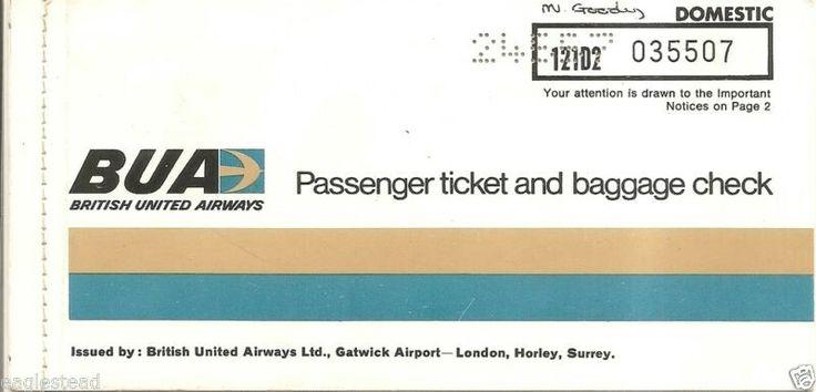 British United Airways BUA Passenger Ticket